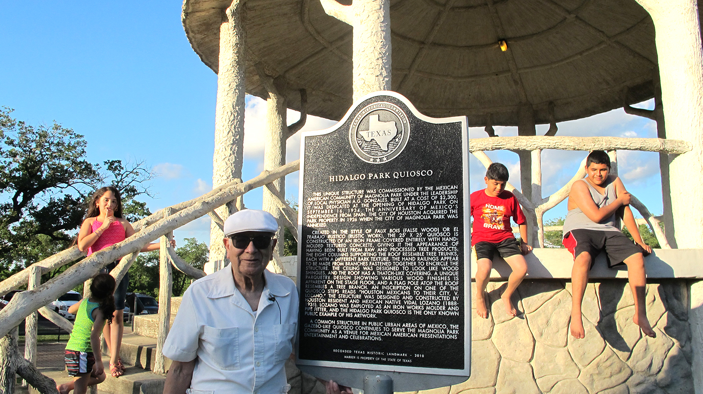 Frank Partida at Hidalgo Park Quiosco and Historical Marker